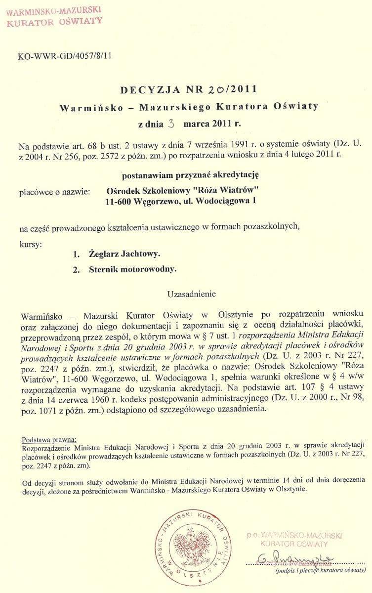 Akredytacja Warmińsko - Mazurskiego Kuratorium Oświaty