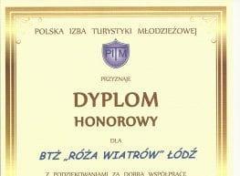 Dyplom Honorowy Polskiej Izby Turystyki Młodzieżowej
