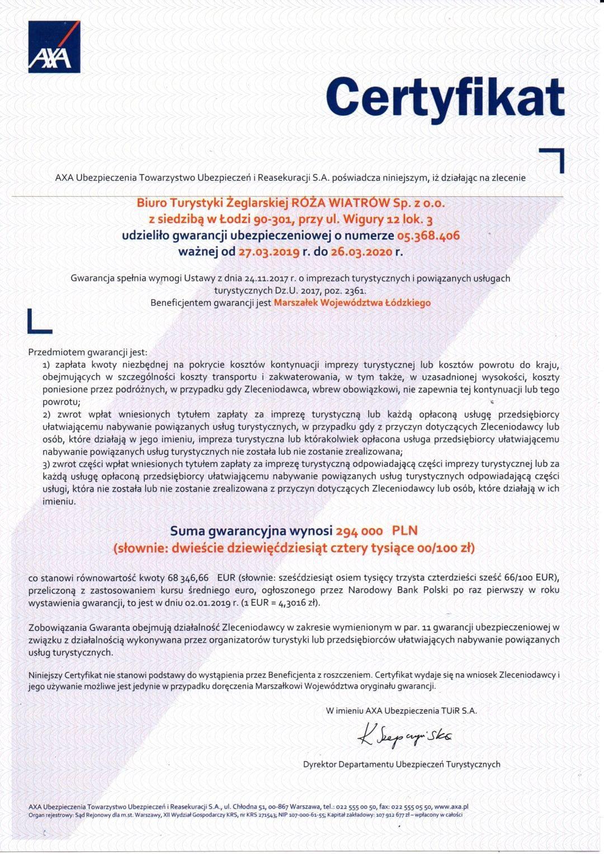 Certyfikat gwarancji ubezpieczeniowej
