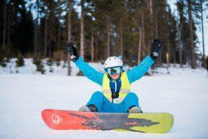 Zimowisko snowboardowe na stoku